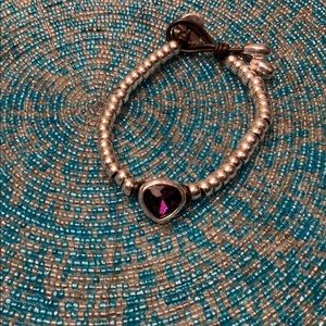 NWOT Purple Stone, Silver, & Black/Brown Bracelet
